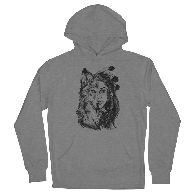 girl wolf Men's Pullover Hoody by fishark's Artist Shop