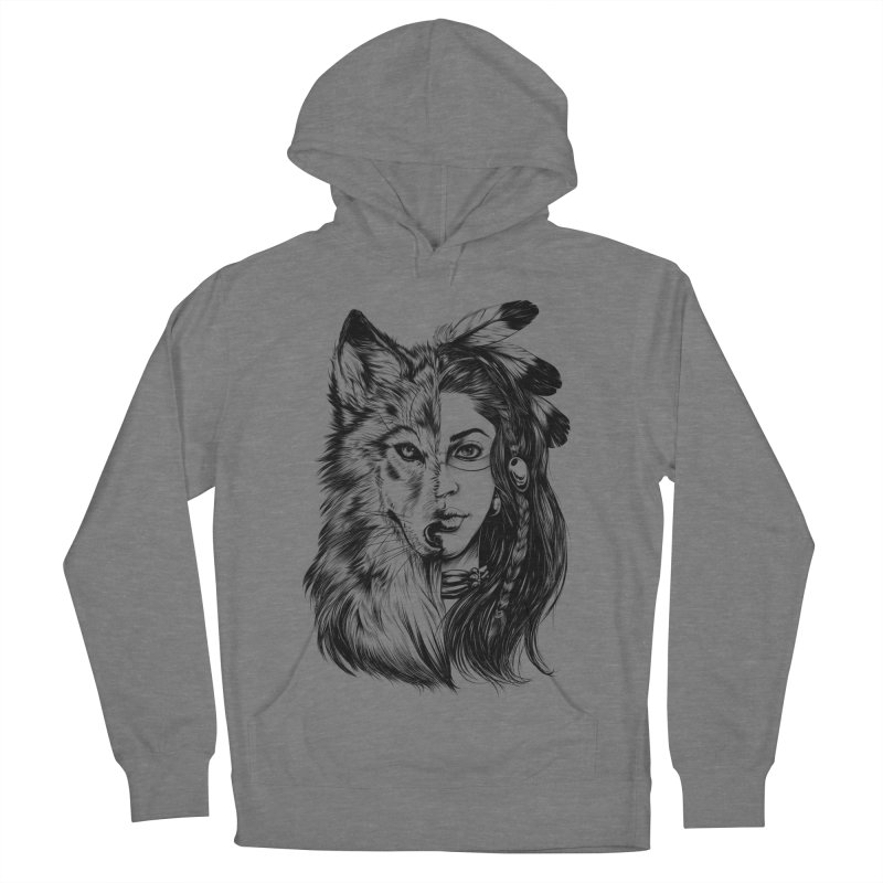 girl wolf Women's French Terry Pullover Hoody by fishark's Artist Shop