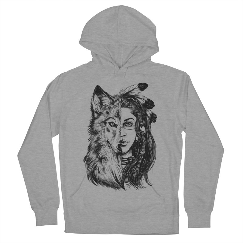girl wolf Men's French Terry Pullover Hoody by fishark's Artist Shop