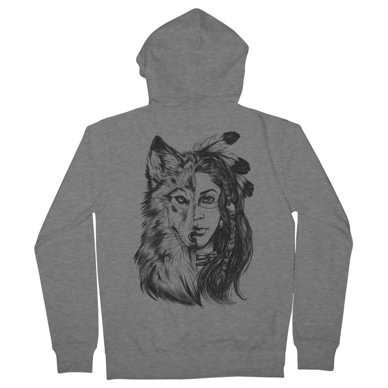girl wolf Women's Zip-Up Hoody by fishark's Artist Shop