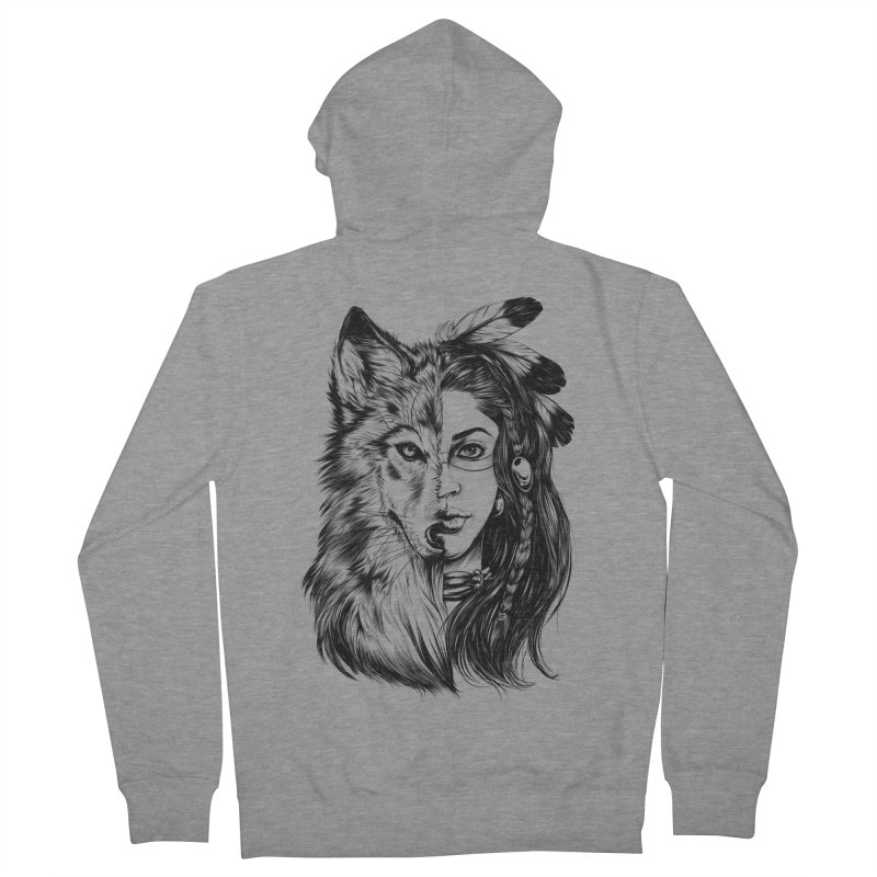 girl wolf Women's French Terry Zip-Up Hoody by fishark's Artist Shop