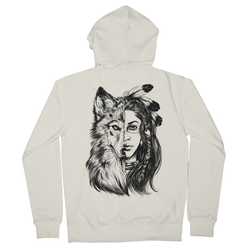 girl wolf Men's French Terry Zip-Up Hoody by fishark's Artist Shop
