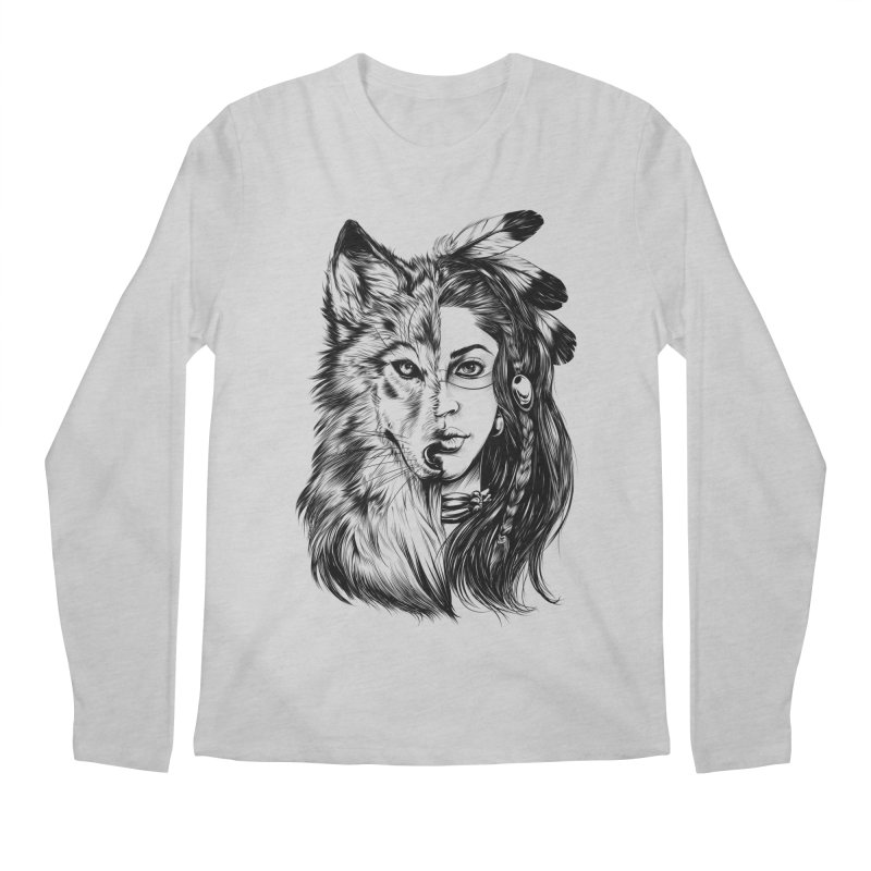 girl wolf Men's Regular Longsleeve T-Shirt by fishark's Artist Shop