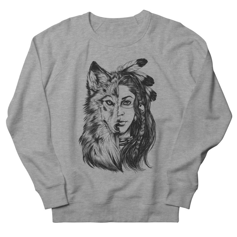 girl wolf Men's French Terry Sweatshirt by fishark's Artist Shop