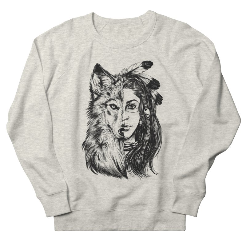 girl wolf Men's French Terry Sweatshirt by fishark's Artist Shop