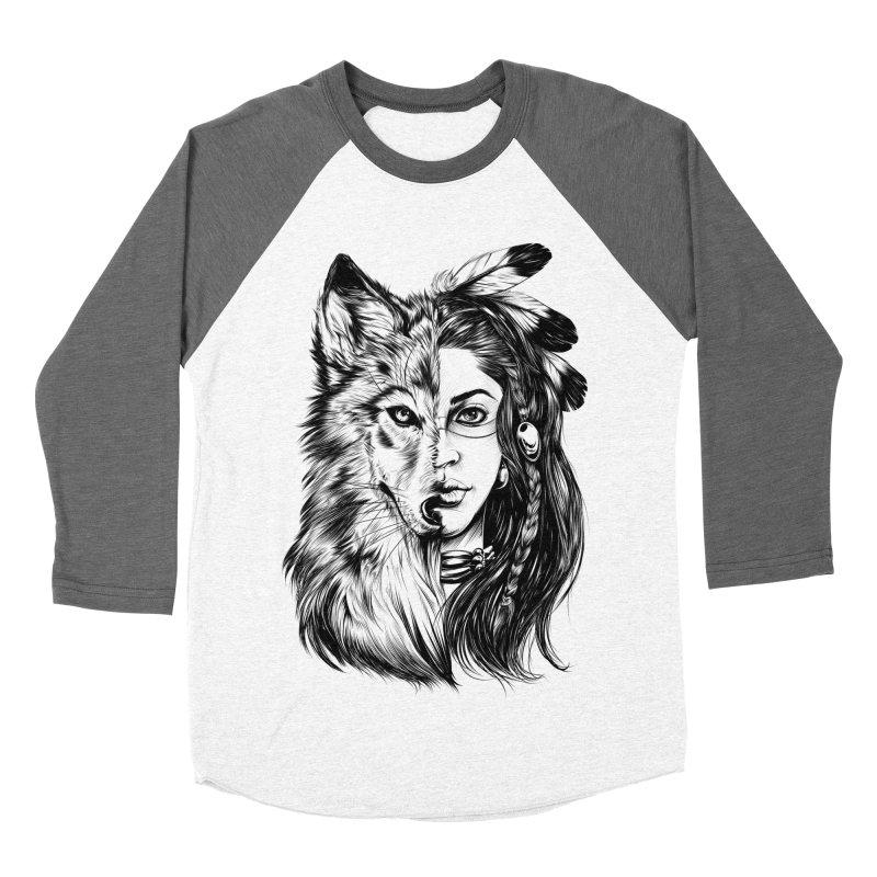 girl wolf Women's Baseball Triblend Longsleeve T-Shirt by fishark's Artist Shop