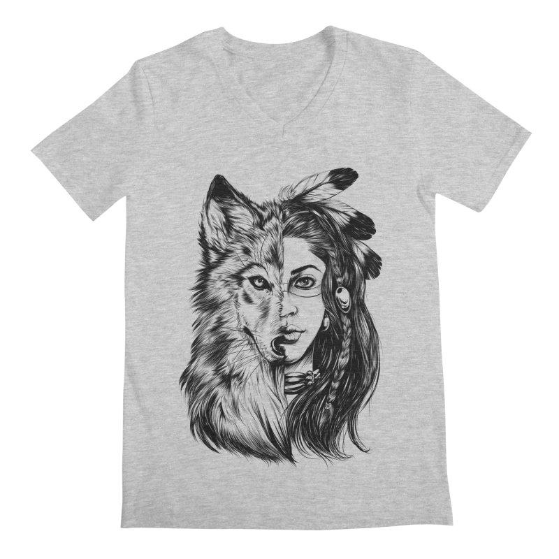 girl wolf Men's Regular V-Neck by fishark's Artist Shop