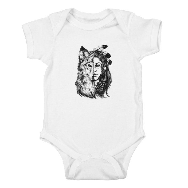 girl wolf Kids Baby Bodysuit by fishark's Artist Shop