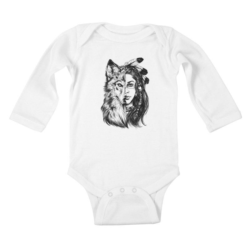 girl wolf Kids Baby Longsleeve Bodysuit by fishark's Artist Shop
