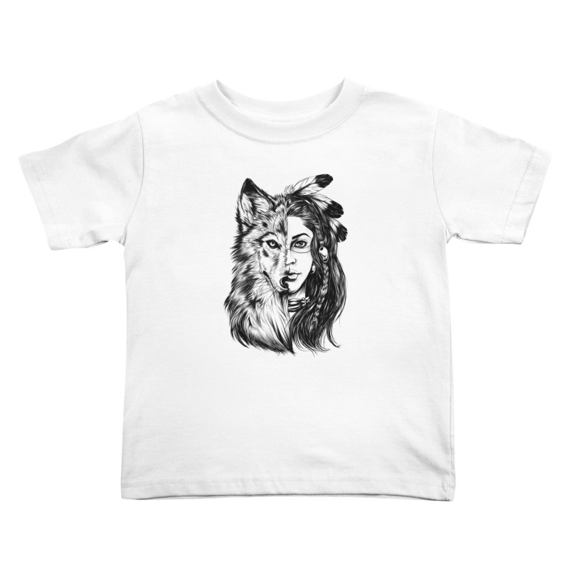 girl wolf Kids Toddler T-Shirt by fishark's Artist Shop