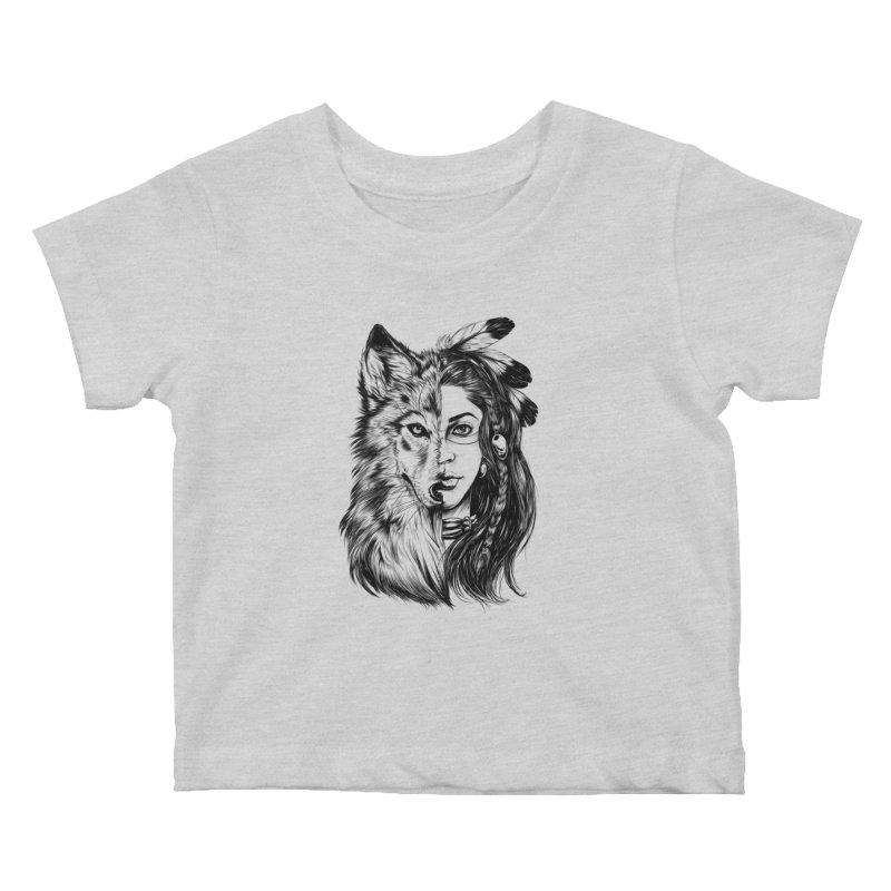 girl wolf Kids Baby T-Shirt by fishark's Artist Shop