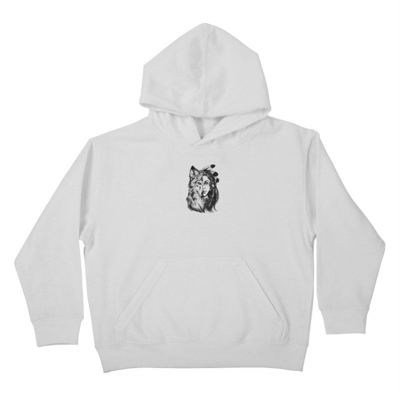 girl wolf Kids Pullover Hoody by fishark's Artist Shop