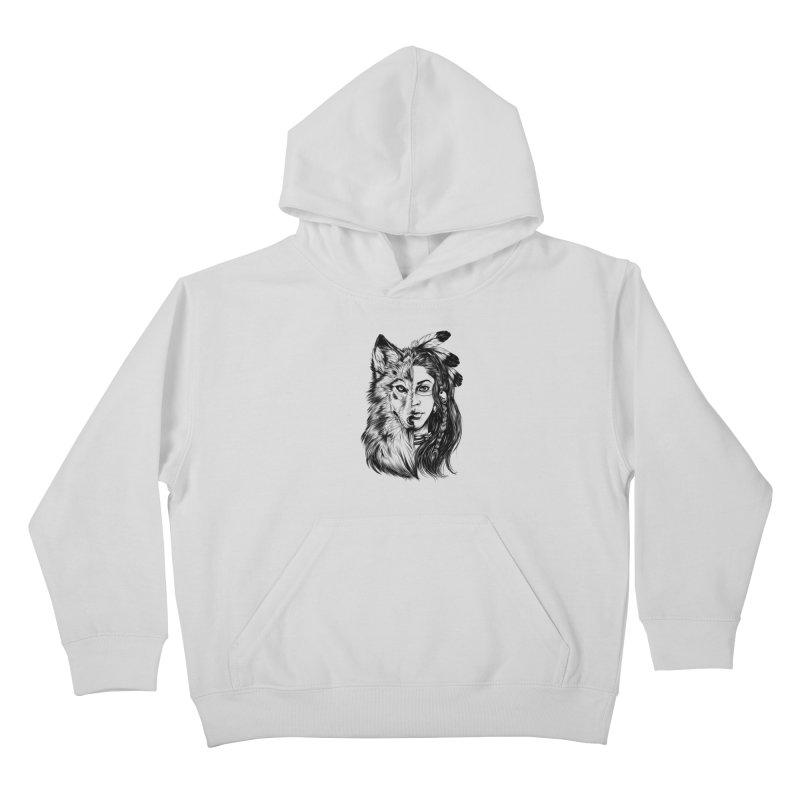 girl wolf Kids Pullover Hoody by fishark's Artist Shop