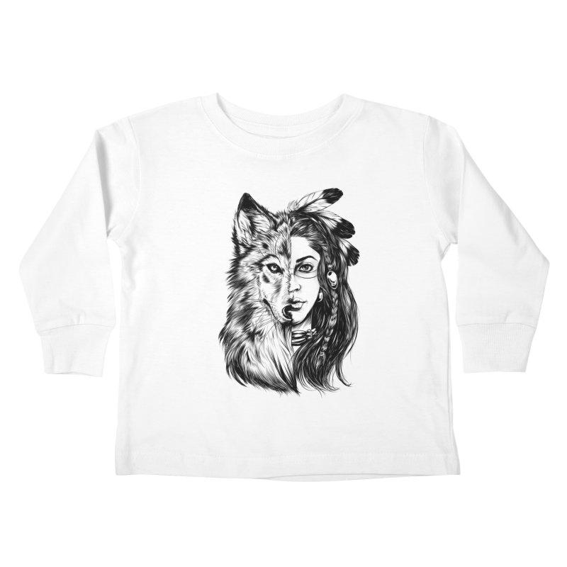 girl wolf Kids Toddler Longsleeve T-Shirt by fishark's Artist Shop