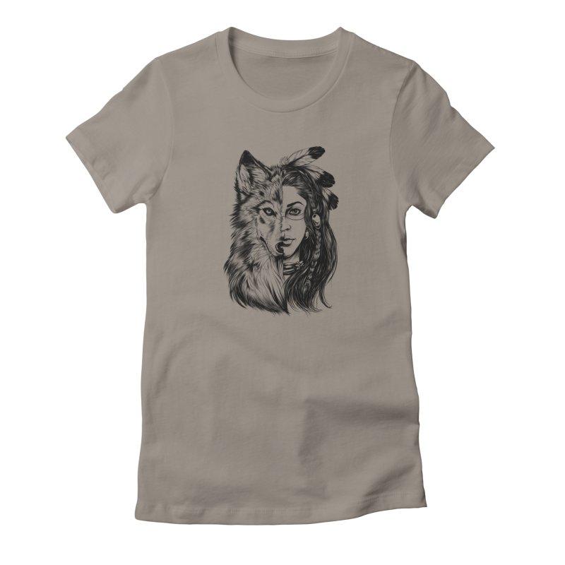 girl wolf Women's T-Shirt by fishark's Artist Shop