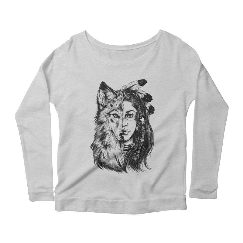 girl wolf Women's Scoop Neck Longsleeve T-Shirt by fishark's Artist Shop