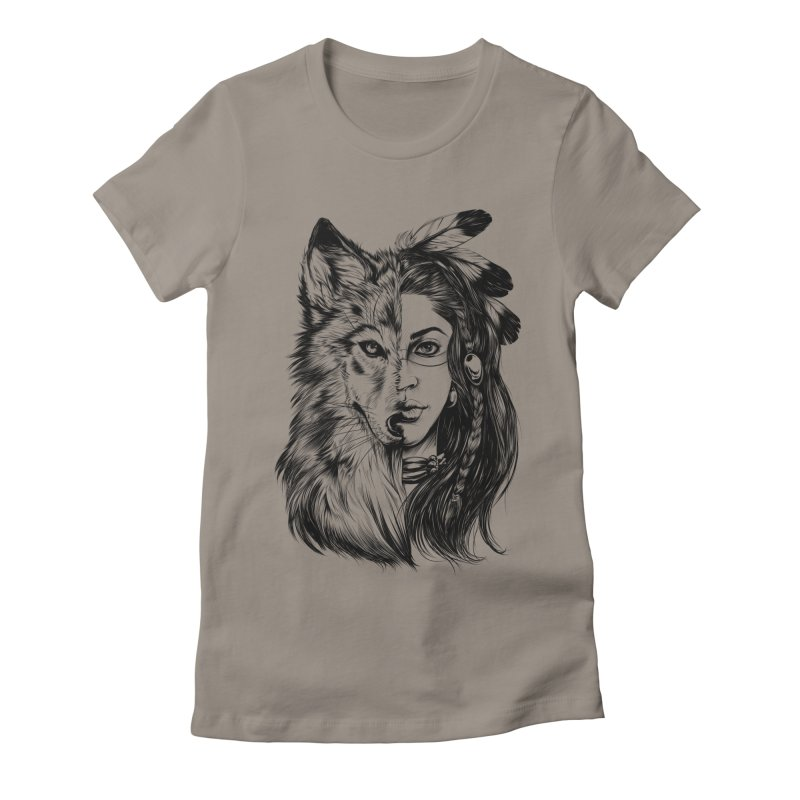 girl wolf Women's Fitted T-Shirt by fishark's Artist Shop