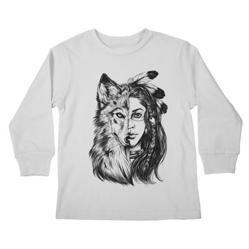 girl wolf Kids Longsleeve T-Shirt by fishark's Artist Shop