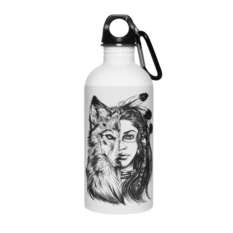 girl wolf Accessories Water Bottle by fishark's Artist Shop