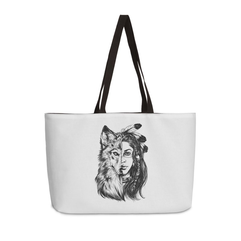 girl wolf Accessories Weekender Bag Bag by fishark's Artist Shop