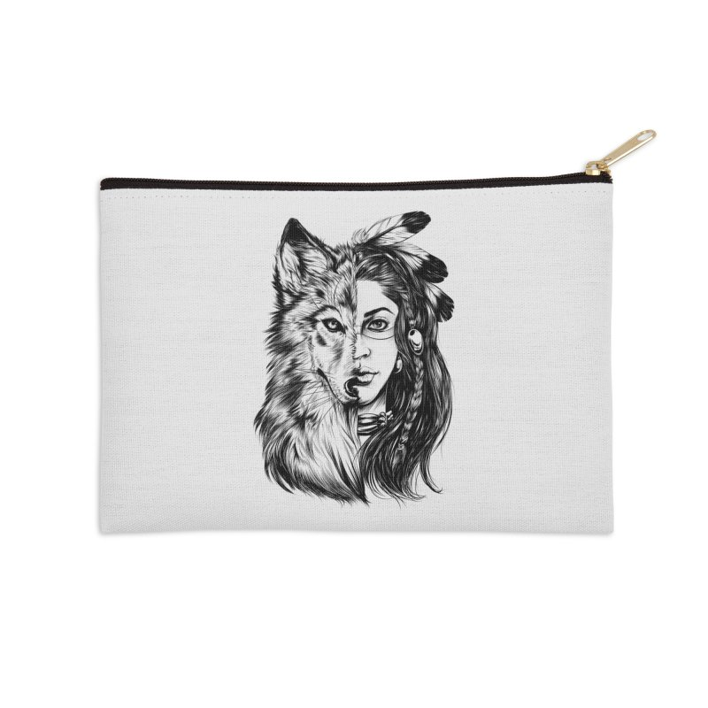 girl wolf Accessories Zip Pouch by fishark's Artist Shop