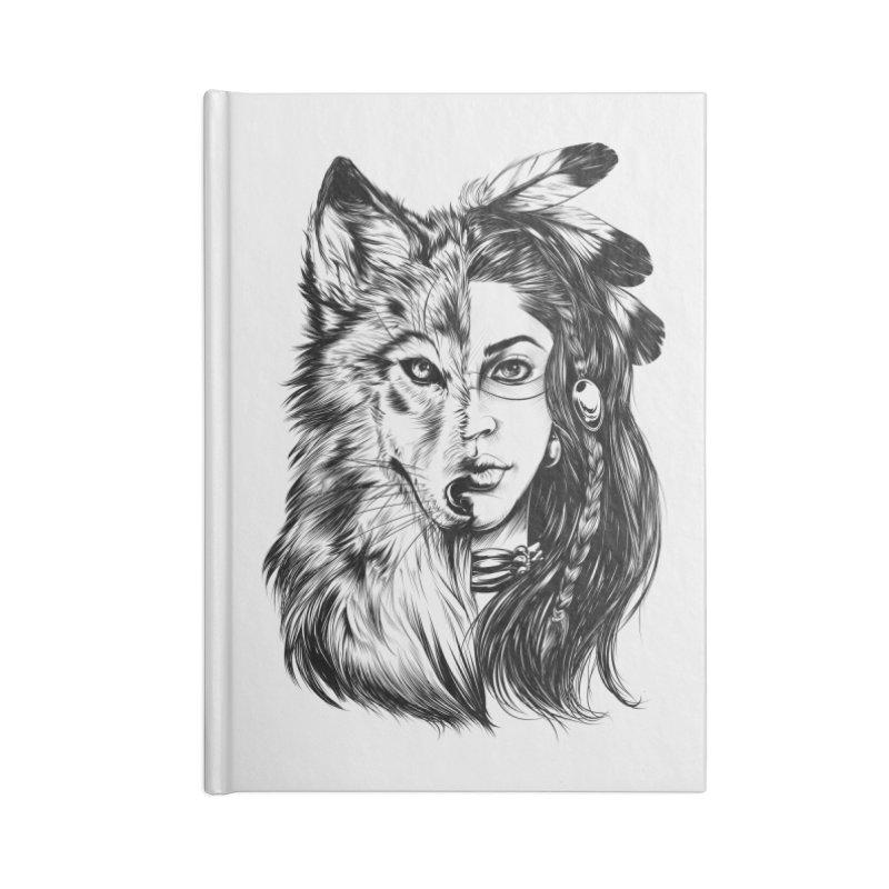 girl wolf Accessories Notebook by fishark's Artist Shop