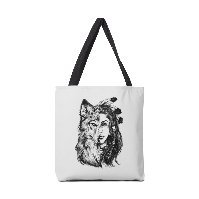 girl wolf Accessories Tote Bag Bag by fishark's Artist Shop