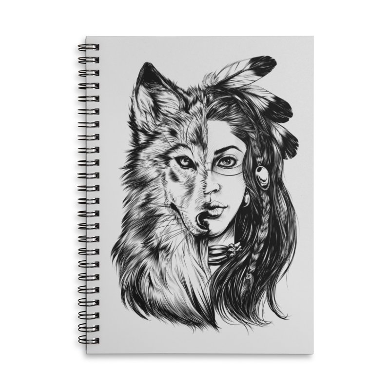 girl wolf Accessories Lined Spiral Notebook by fishark's Artist Shop