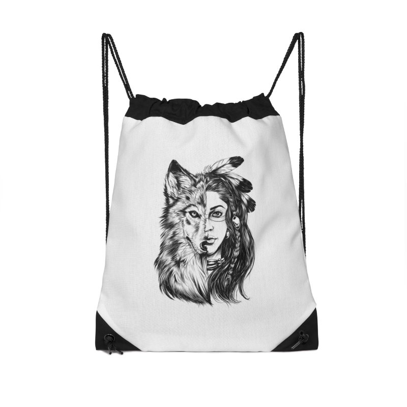 girl wolf Accessories Drawstring Bag Bag by fishark's Artist Shop
