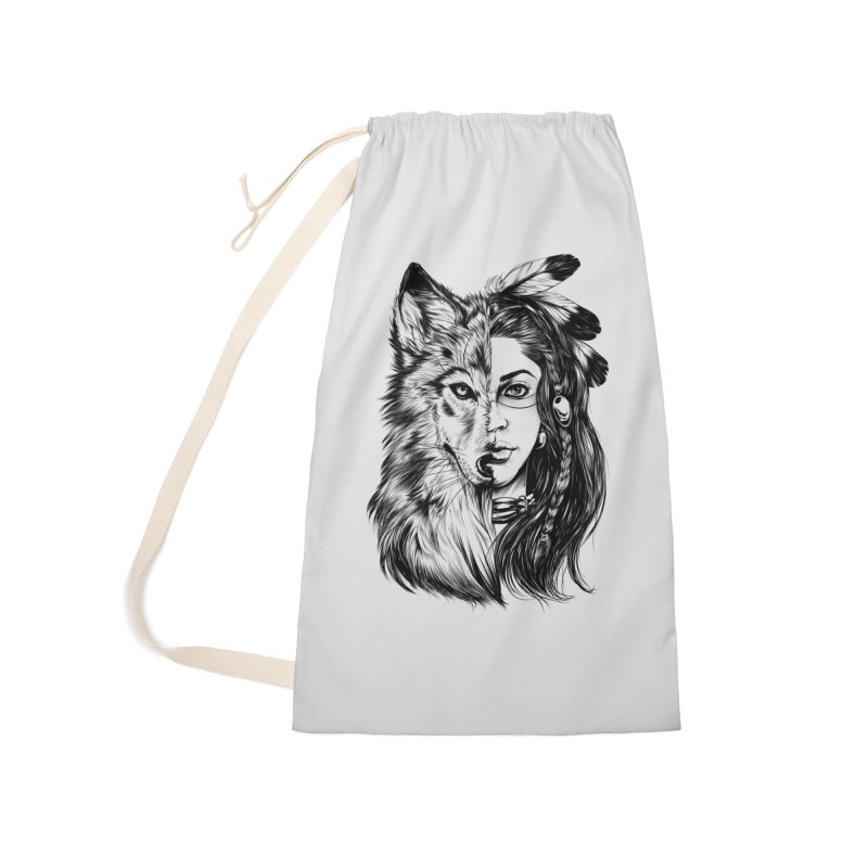 girl wolf Accessories Laundry Bag Bag by fishark's Artist Shop