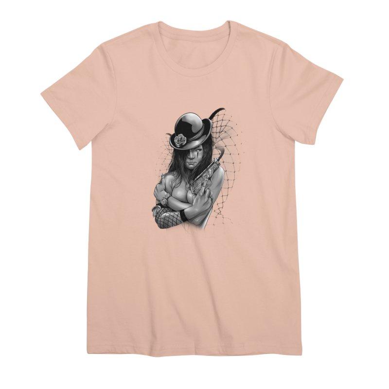 girl with gun Women's Premium T-Shirt by fishark's Artist Shop