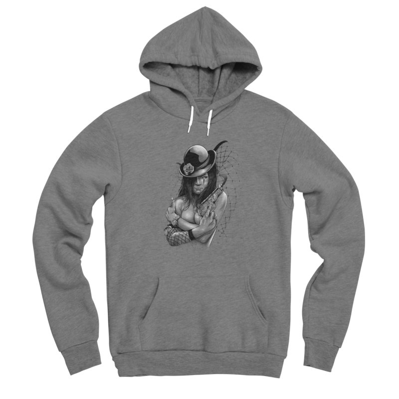 girl with gun Men's Sponge Fleece Pullover Hoody by fishark's Artist Shop