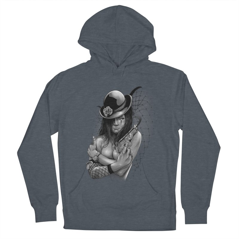 girl with gun Women's French Terry Pullover Hoody by fishark's Artist Shop