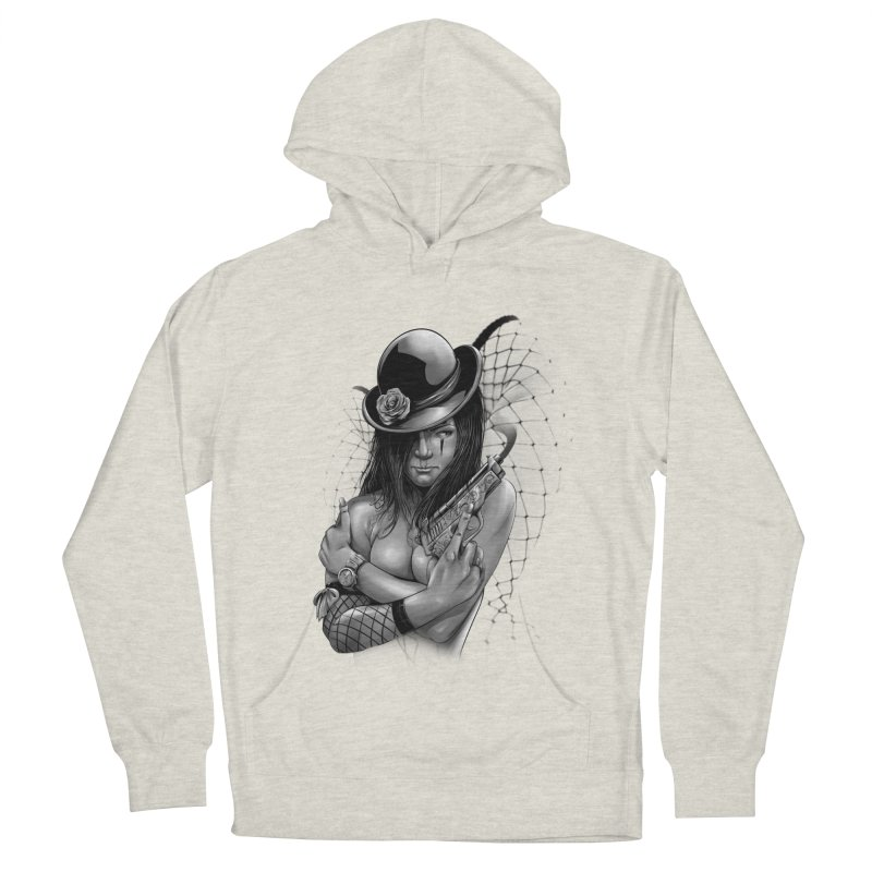 girl with gun Men's French Terry Pullover Hoody by fishark's Artist Shop