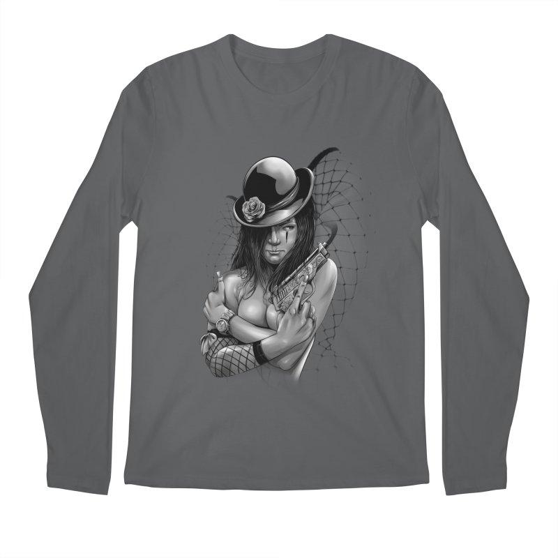 girl with gun Men's Regular Longsleeve T-Shirt by fishark's Artist Shop