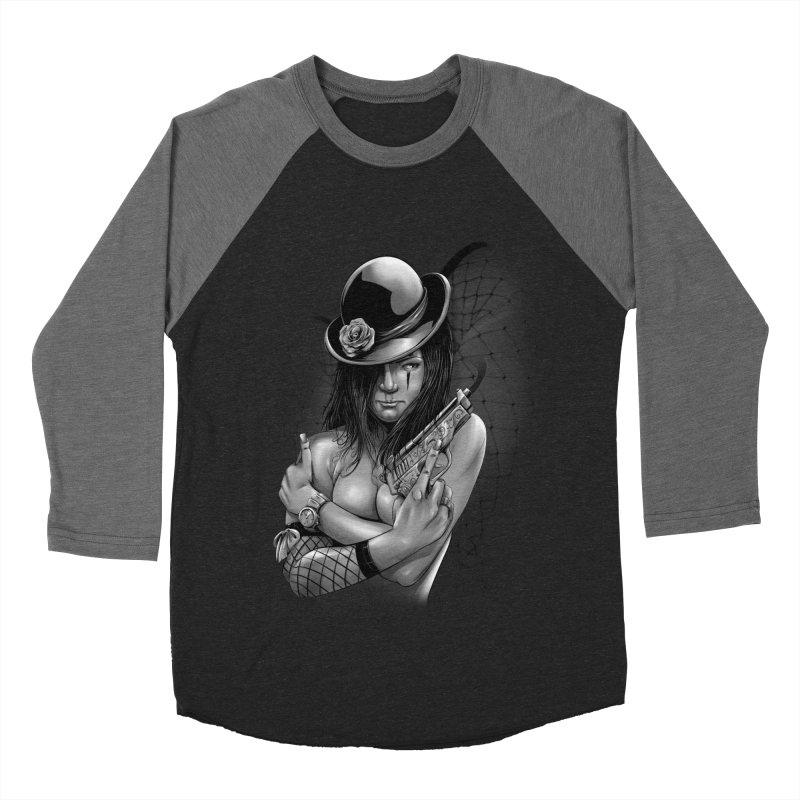 girl with gun Men's Baseball Triblend Longsleeve T-Shirt by fishark's Artist Shop