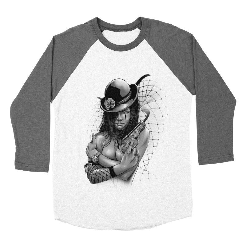 girl with gun Men's Baseball Triblend Longsleeve T-Shirt by fishark's Artist Shop