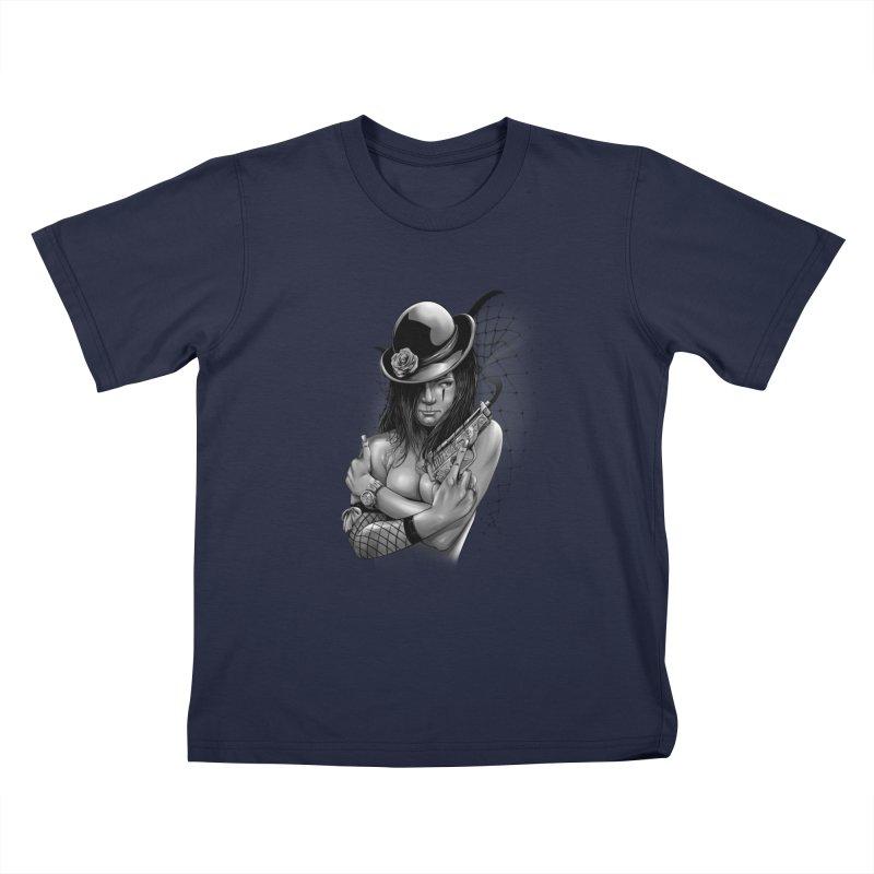 girl with gun Kids T-Shirt by fishark's Artist Shop