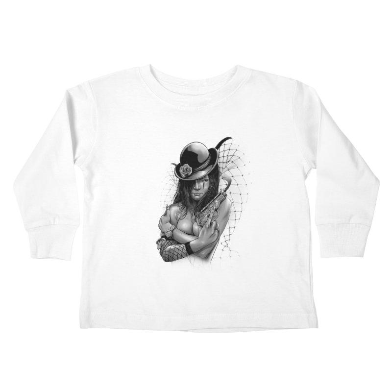 girl with gun Kids Toddler Longsleeve T-Shirt by fishark's Artist Shop