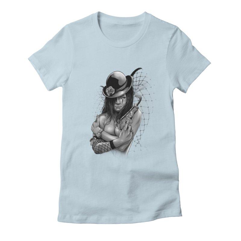 girl with gun Women's Fitted T-Shirt by fishark's Artist Shop