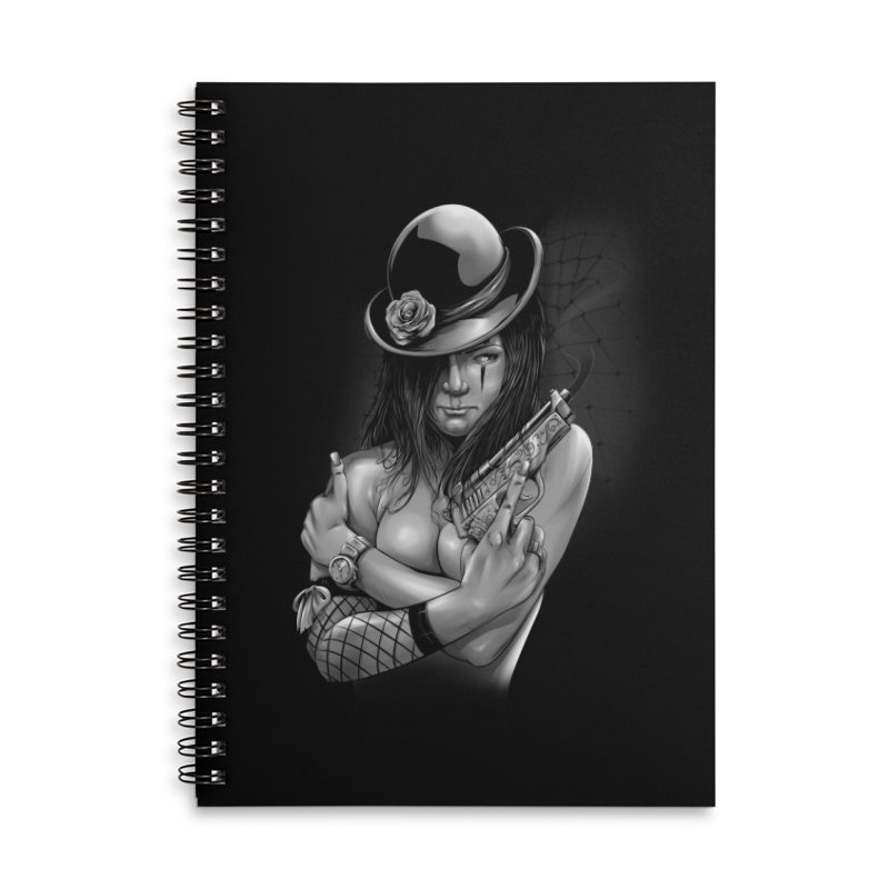girl with gun Accessories Lined Spiral Notebook by fishark's Artist Shop