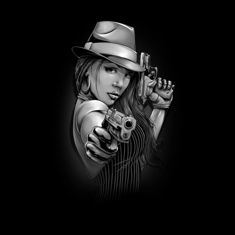 girl with gun Men's T-Shirt by fishark's Artist Shop