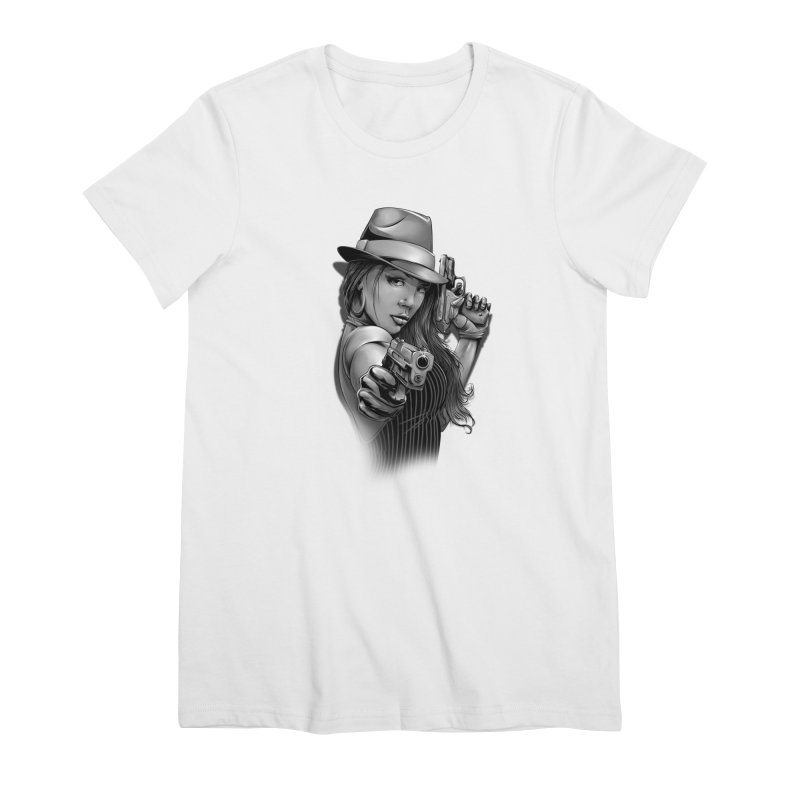 girl with gun Women's Premium T-Shirt by fishark's Artist Shop