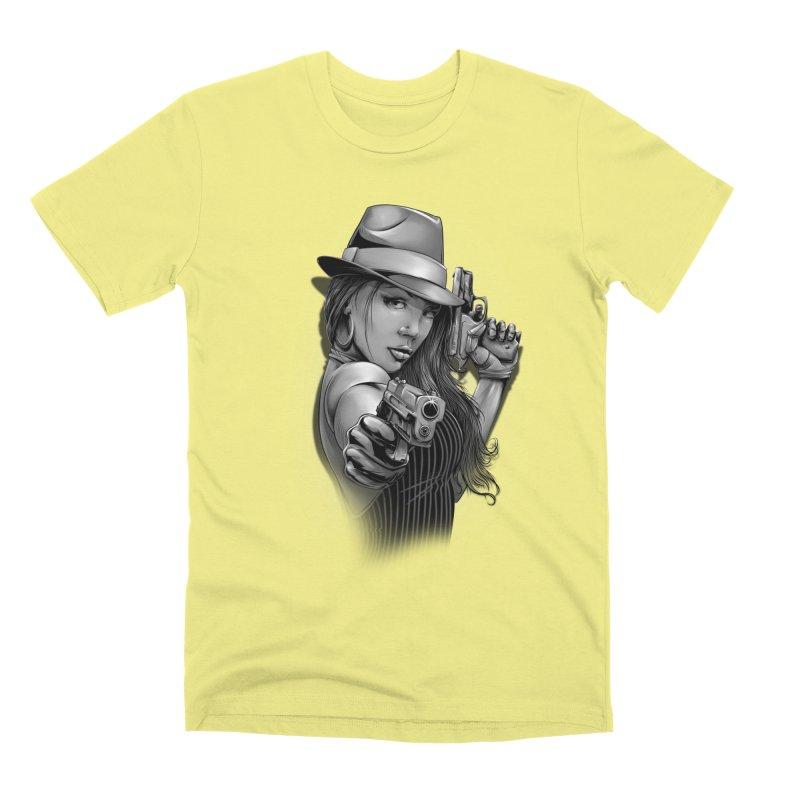girl with gun Men's Premium T-Shirt by fishark's Artist Shop