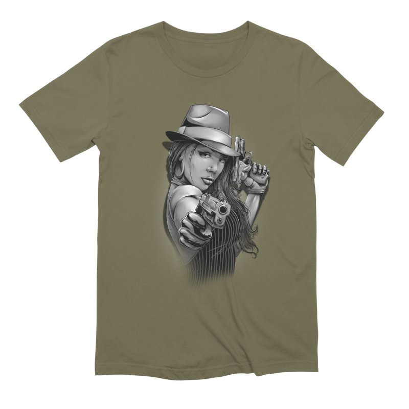 girl with gun Men's Extra Soft T-Shirt by fishark's Artist Shop