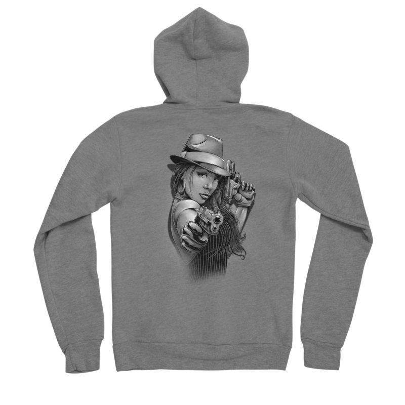 girl with gun Men's Sponge Fleece Zip-Up Hoody by fishark's Artist Shop