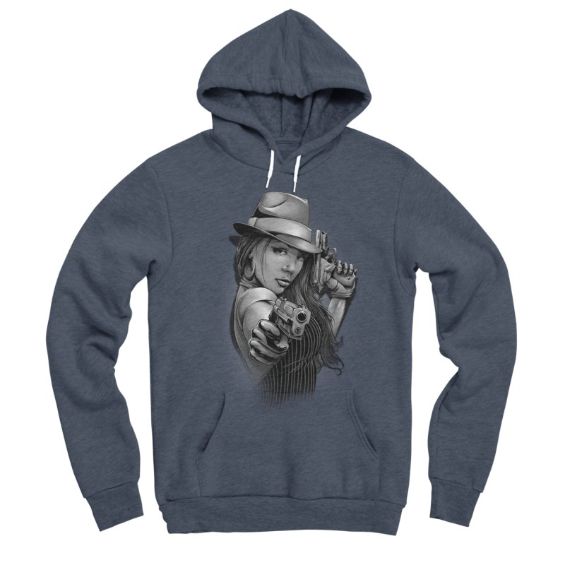 girl with gun Women's Sponge Fleece Pullover Hoody by fishark's Artist Shop
