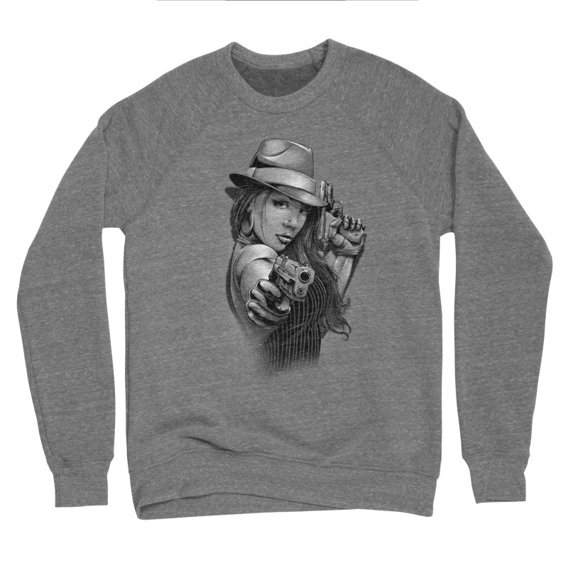 girl with gun Men's Sponge Fleece Sweatshirt by fishark's Artist Shop