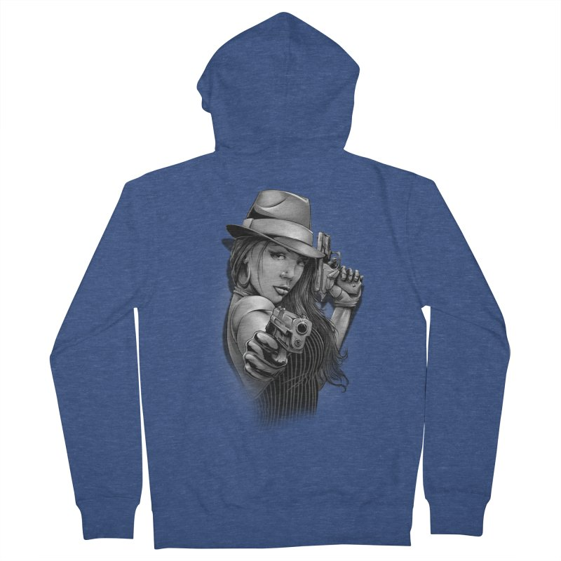 girl with gun Women's French Terry Zip-Up Hoody by fishark's Artist Shop