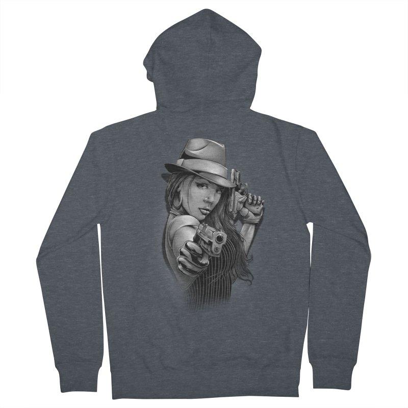 girl with gun Women's French Terry Zip-Up Hoody by fishark's Artist Shop